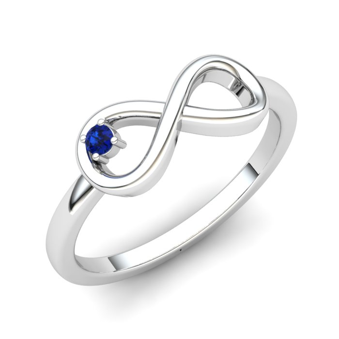 Infinity Blue Sapphire Ring, Sterling Silver_image1)