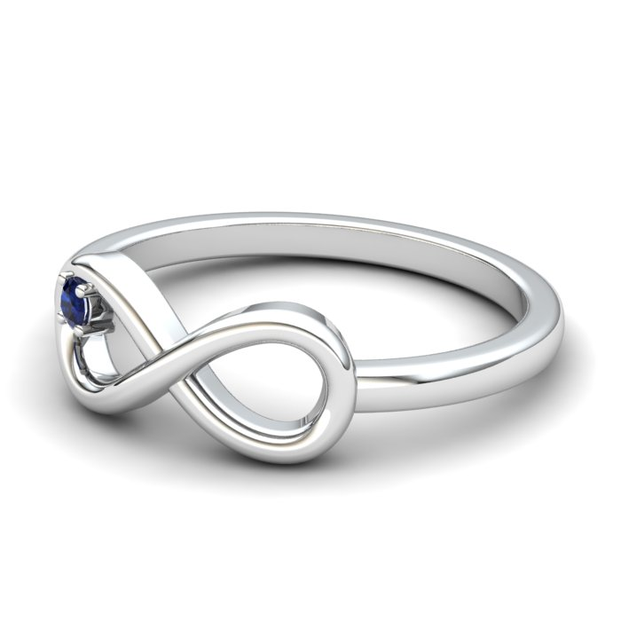 Infinity Blue Sapphire Ring, Sterling Silver_image2)