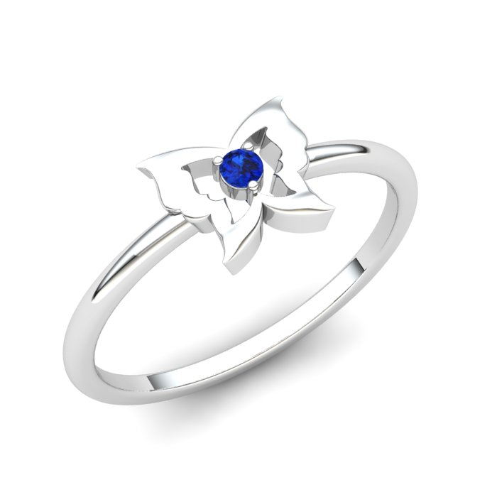 Butterfly Blue Sapphire Ring, Sterling Silver_image1)