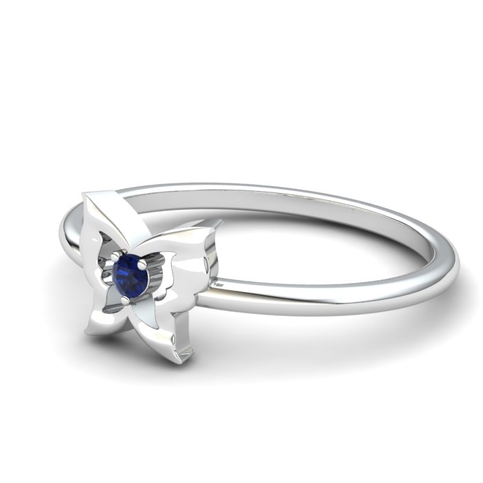 Butterfly Blue Sapphire Ring, Sterling Silver_image2)