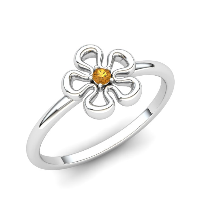 Flower Citrine Ring, Sterling Silver_image1)