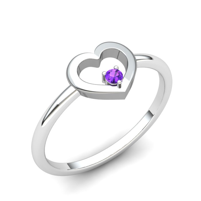 Heart Amethyst Ring, Sterling Silver_image1)