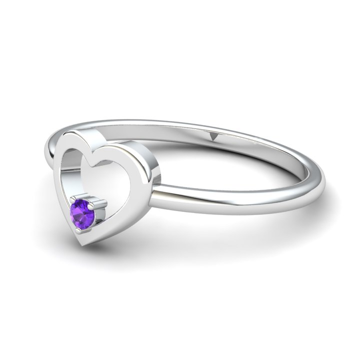 Heart Amethyst Ring, Sterling Silver_image2)