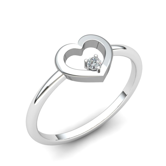 Heart White Zircon Ring, Sterling Silver_image1)
