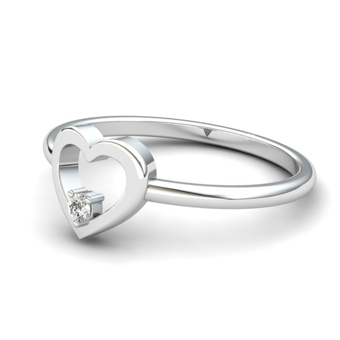Heart White Zircon Ring, Sterling Silver_image2)