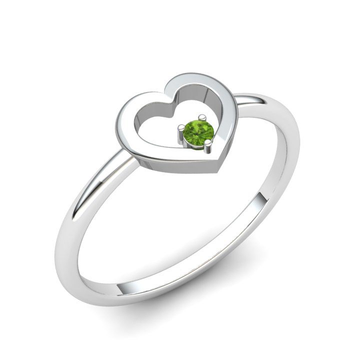 Heart Peridot Ring, Sterling Silver_image1)