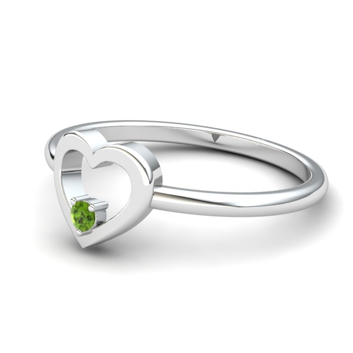 Heart Peridot Ring, Sterling Silver_image2)
