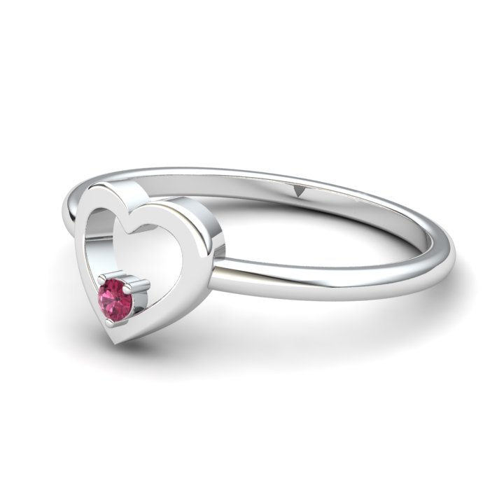 Heart Garnet Ring, Sterling Silver_image2)