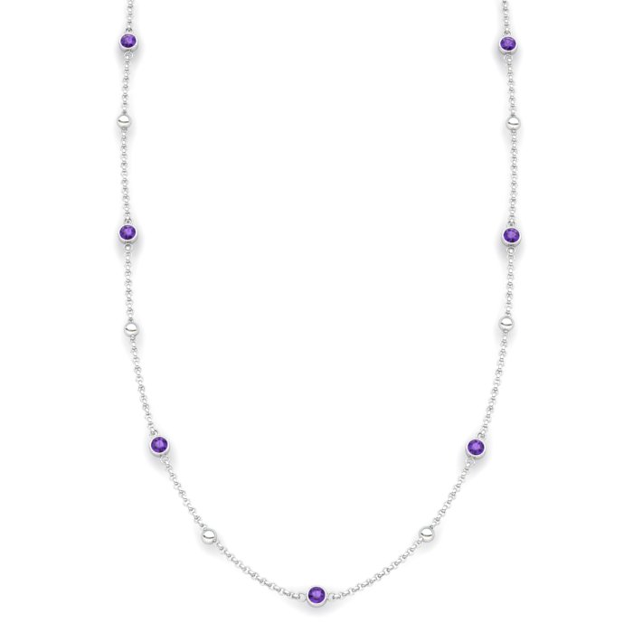 Matinee necklace Amethyst, Sterling Silver_image1)