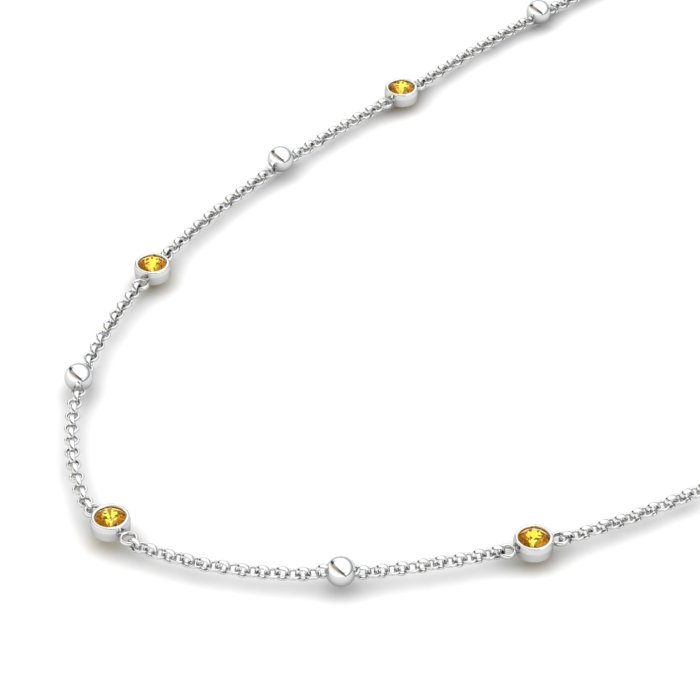 Matinee necklace Citrine, Sterling Silver_image2)