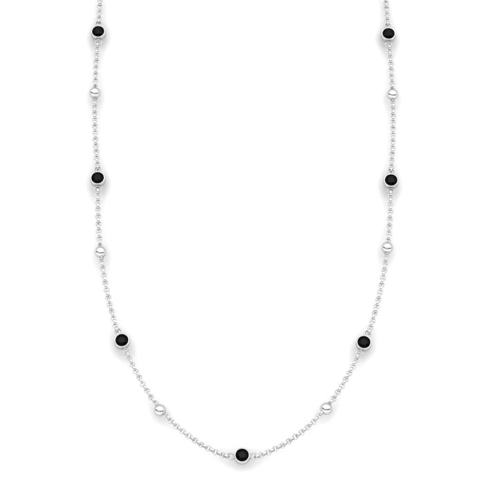 Matinee necklace Black Onyx , Sterling Silver_image1)