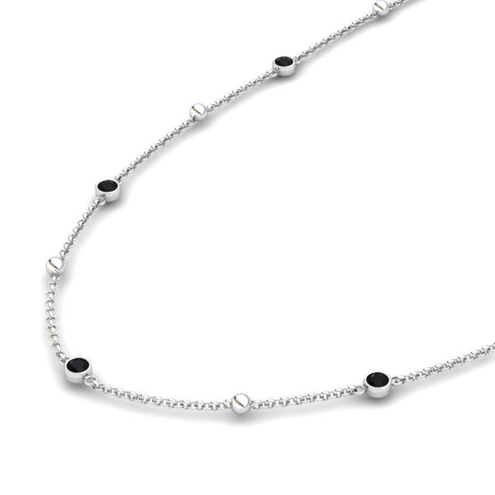 Matinee necklace Black Onyx , Sterling Silver_image2)