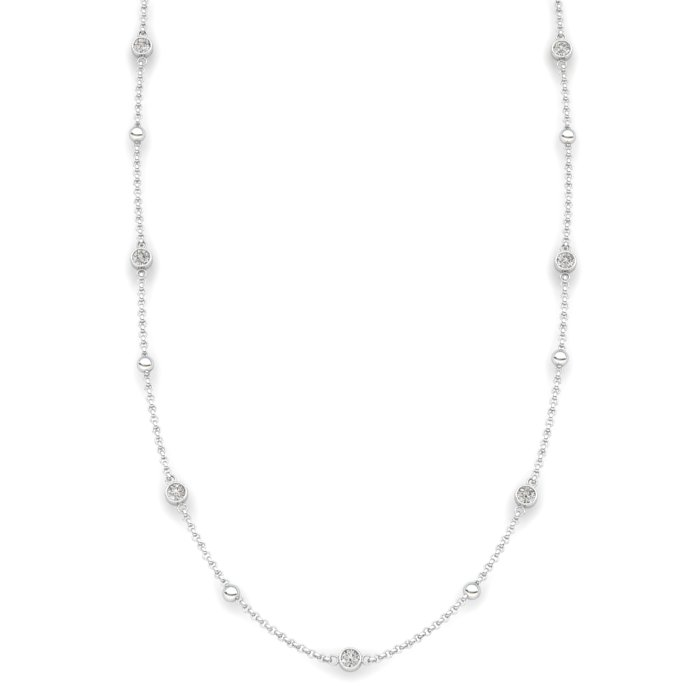 Matinee necklace White Zircon, Sterling Silver_image1)