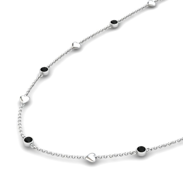 Matinee Heart necklace Black Onyx , Sterling Silver_image2)