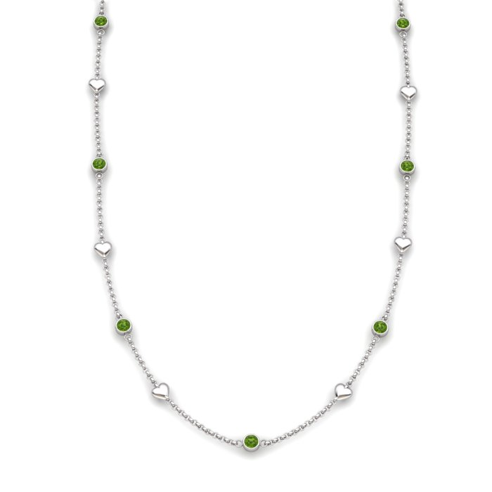 Matinee Heart necklace Peridot, Sterling Silver_image1)
