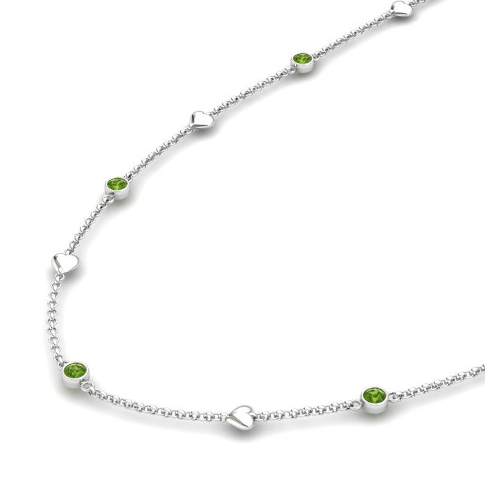 Matinee Heart necklace Peridot, Sterling Silver_image2)