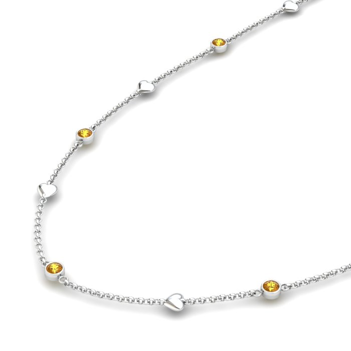 Matinee Heart necklace Citrine, Sterling Silver _image2)