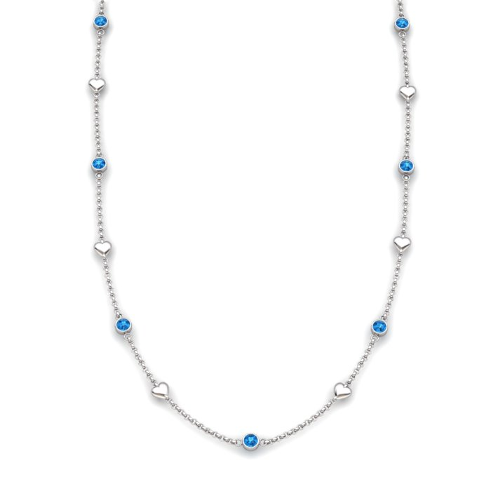 Matinee Heart necklace Blue Topaz, Sterling Silver _image1)