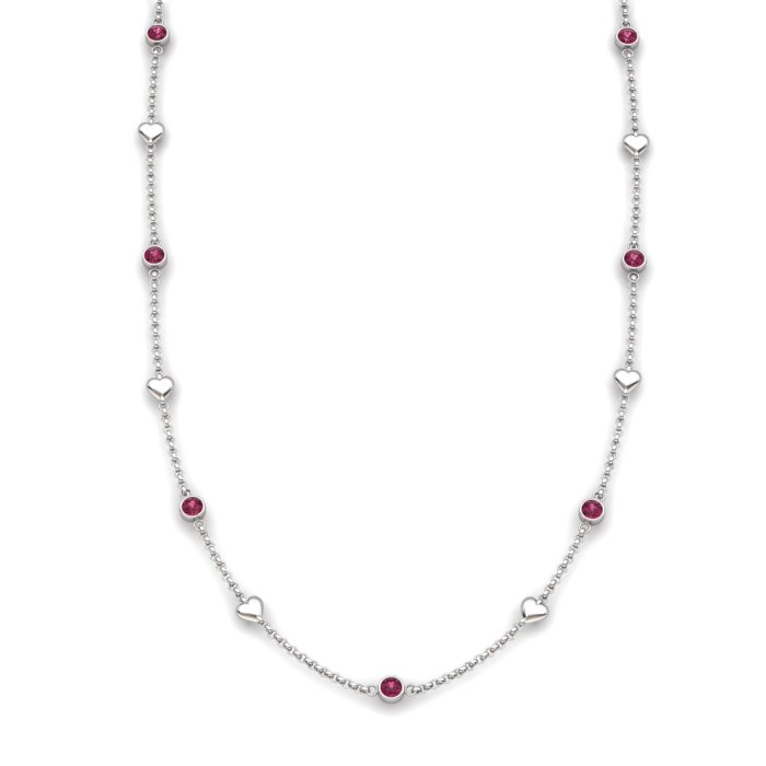Matinee Heart necklace Garnet, Sterling Silver _image1)