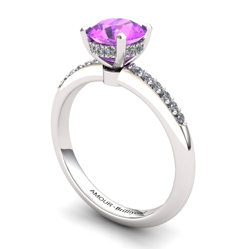 Crown Ring with Stone Band - Amethyst _image1)