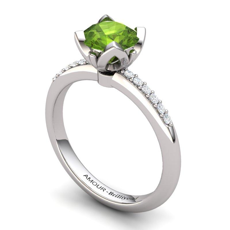Peridot Lotus Ring with Stone Band _image1)