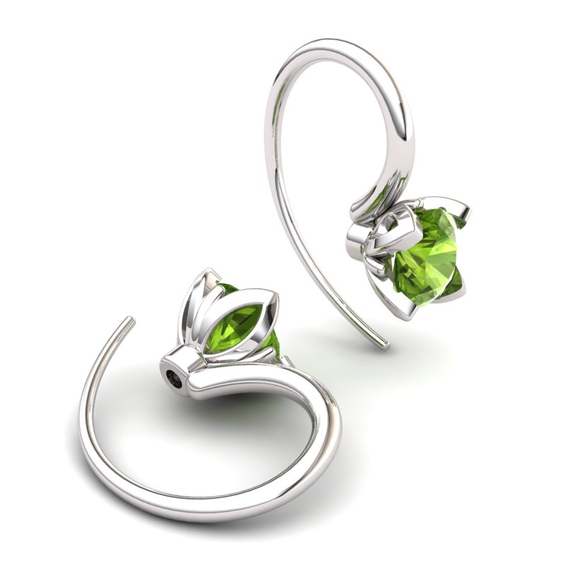 Lotus Hook Earring Peridot_image2)