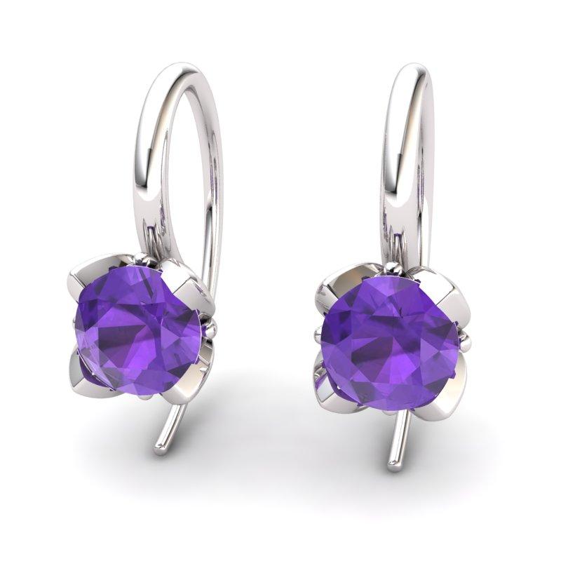 Lotus Hook Earring Amethyst_image1)