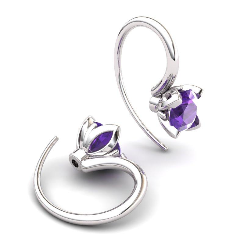 Lotus Hook Earring Amethyst_image2)