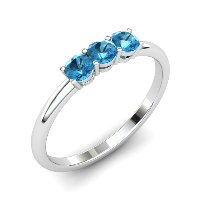 Three Stone Blue Topaz Ring, Sterling Silver_image1)