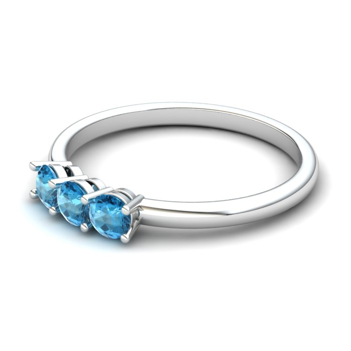 Three Stone Blue Topaz Ring, Sterling Silver_image2)
