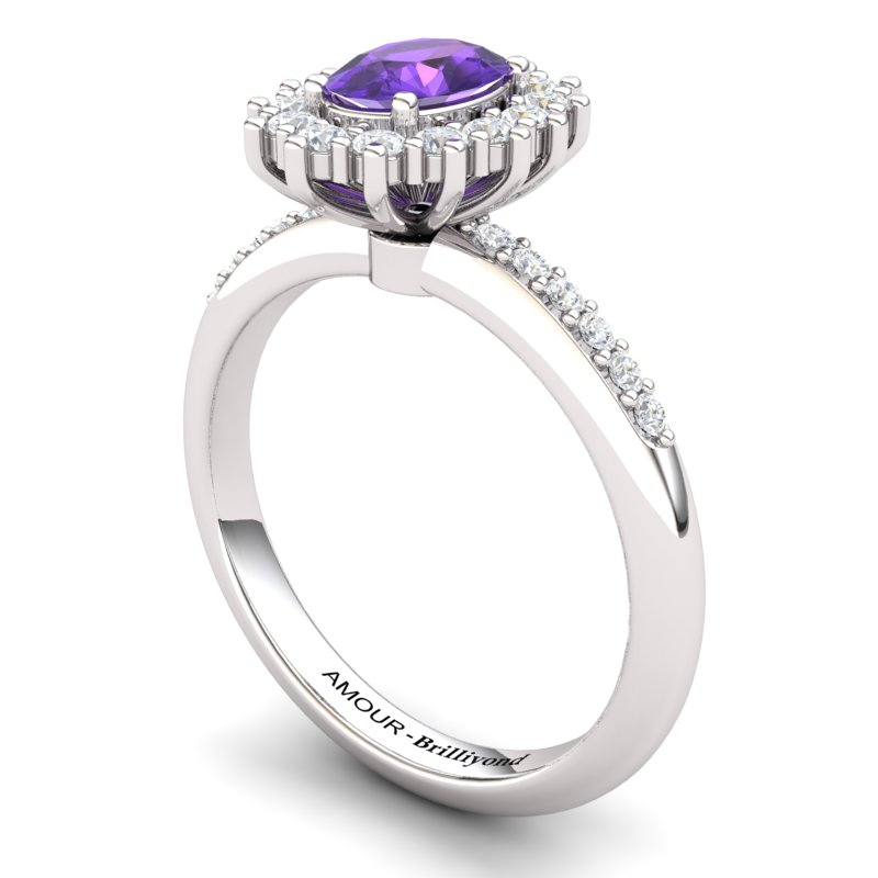 Amethyst Princess Ring with Stone Band_image1)