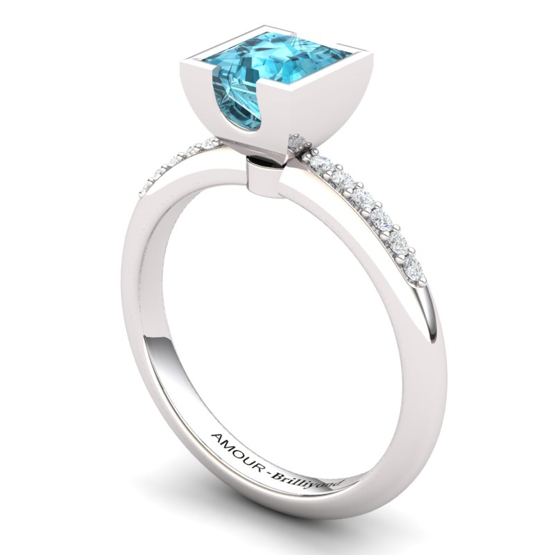 Blue Topaz Square Ring with Stone Band _image1)