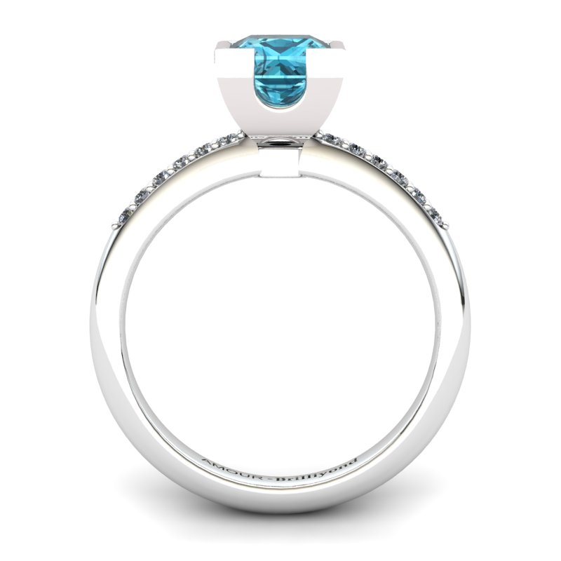 Blue Topaz Square Ring with Stone Band _image2)