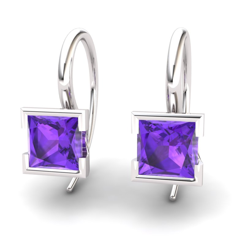 Square Amethyst Hook Earring _image1)