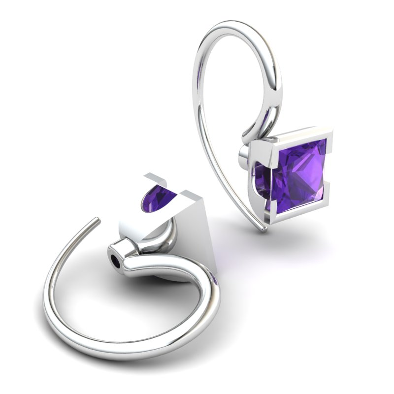 Square Amethyst Hook Earring _image2)
