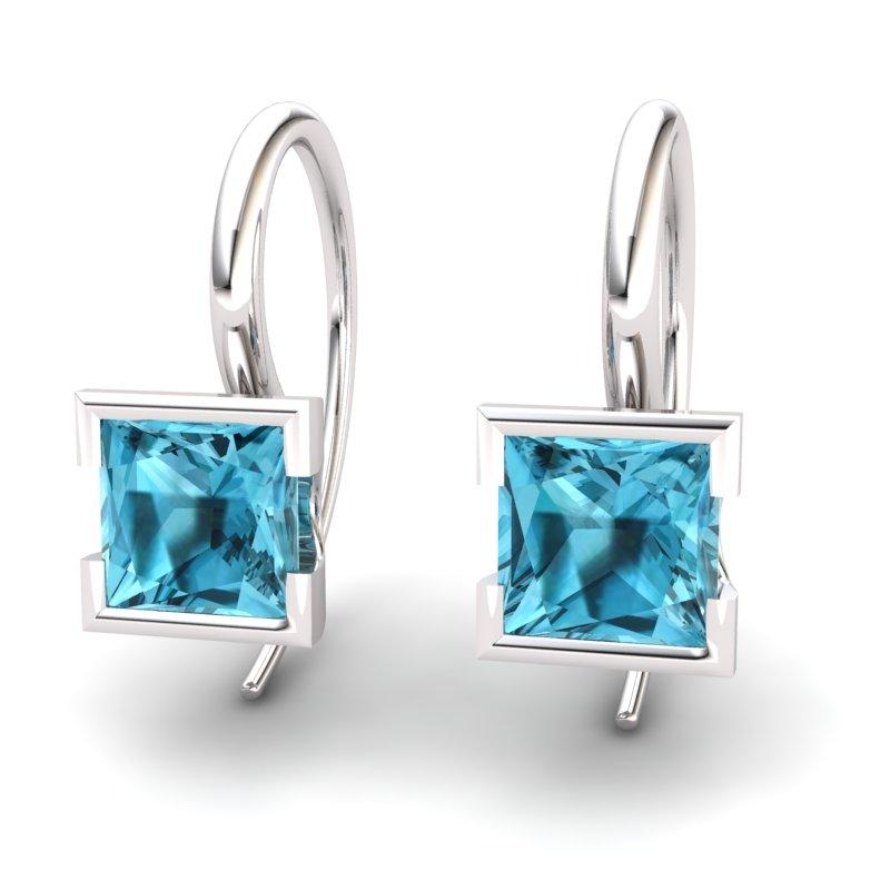 Square Blue Topaz Hook Earring_image1)