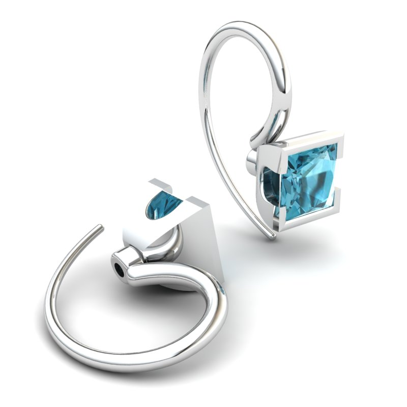 Square Blue Topaz Hook Earring_image2)