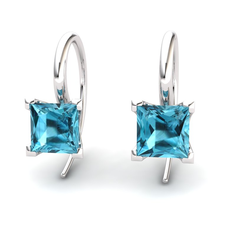 Square Radiant Blue Topaz Hook Earring_image1)