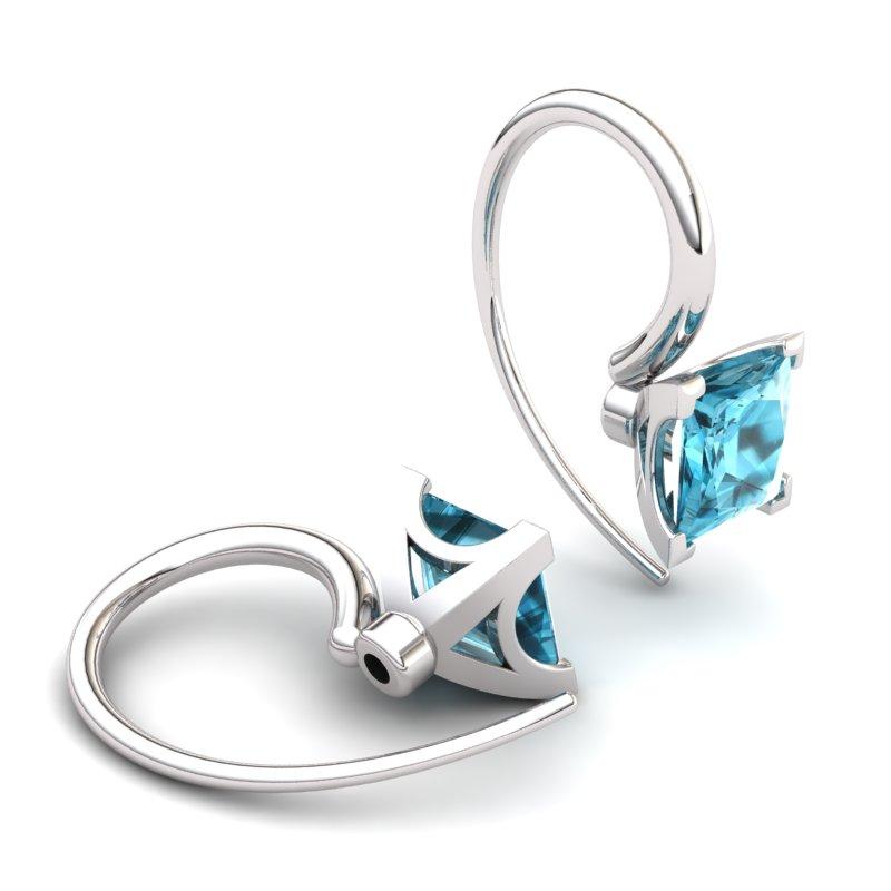 Square Radiant Blue Topaz Hook Earring_image2)