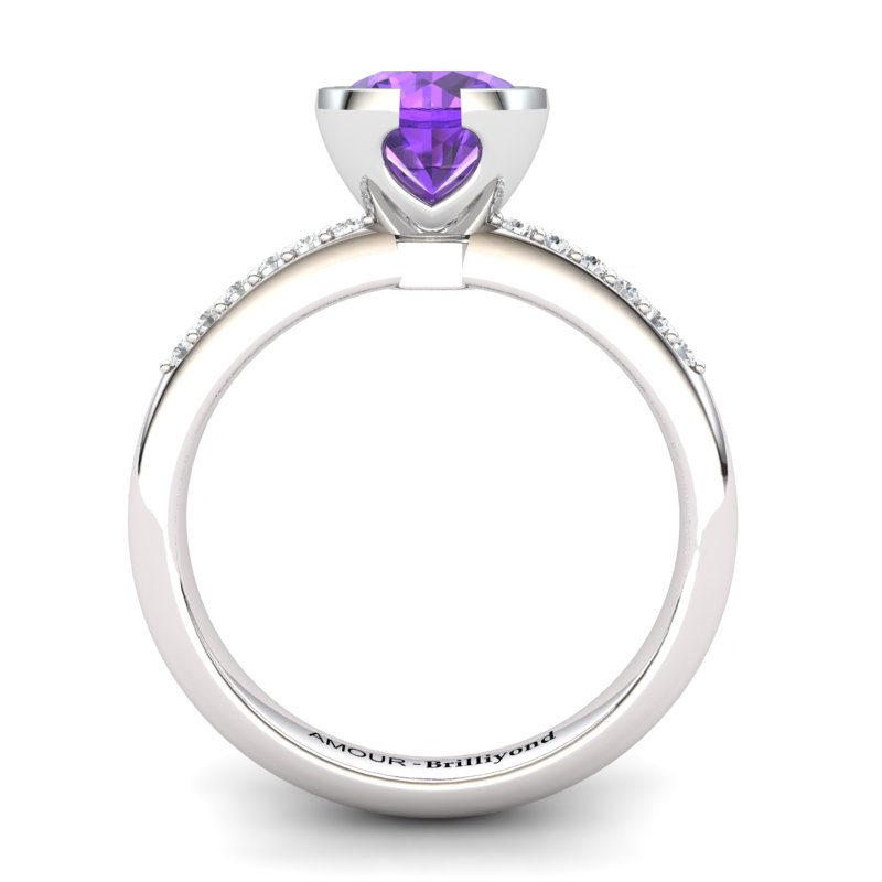 Classic Radiant Amethyst Ring with Stone Band _image2)
