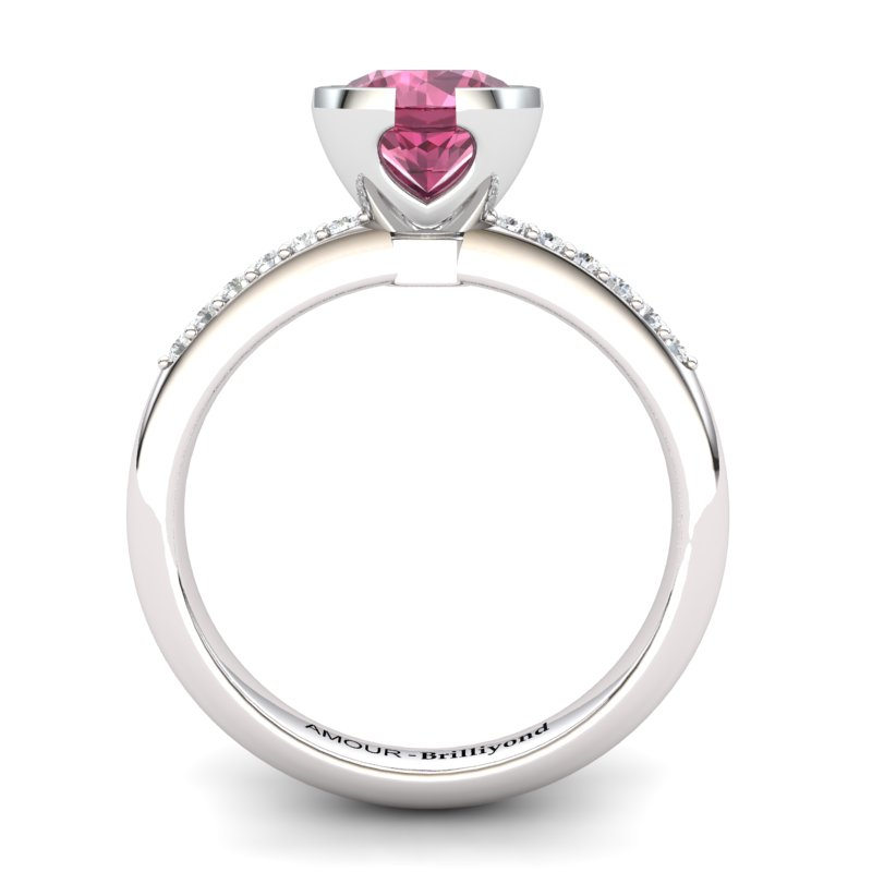 Classic Radiant Garnet Ring with Stone Band_image2)