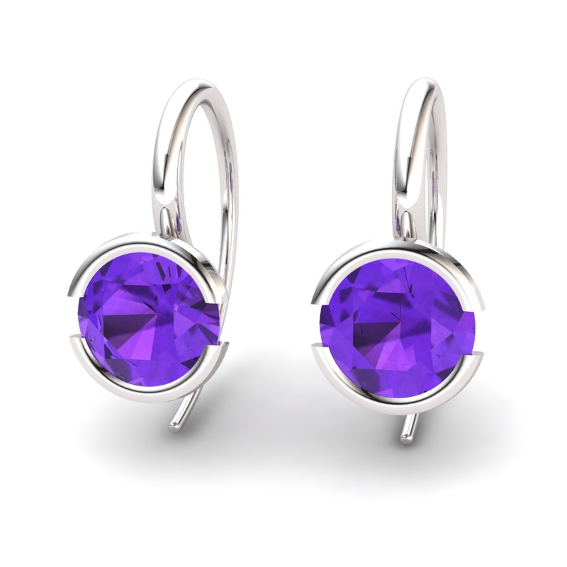 Classic Radiant Amethyst Hook Earring _image1)