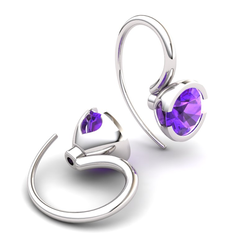 Classic Radiant Amethyst Hook Earring _image2)