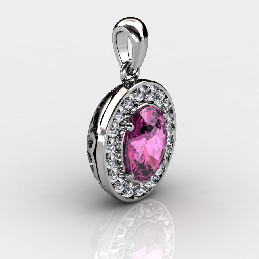 Oval Vintage Pendant - Pink Tourmaline _image2)