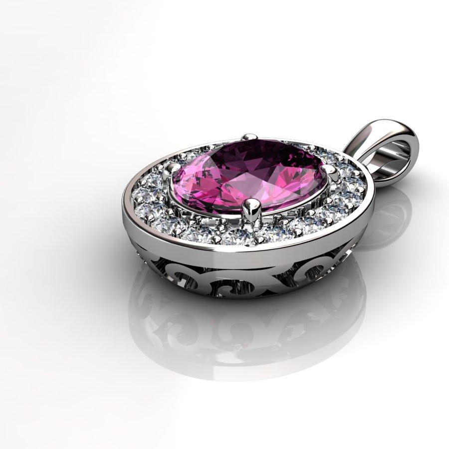 Oval Vintage Pendant - Pink Tourmaline _image3)