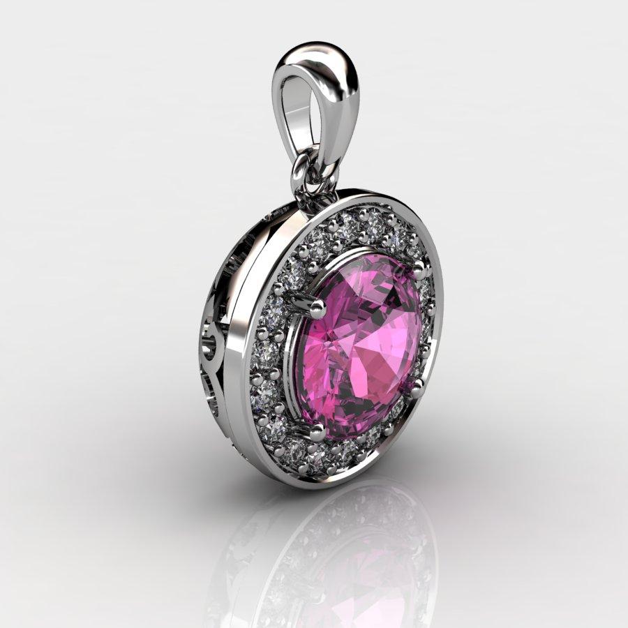 Round Vintage Pendant - Pink Tourmaline _image2)