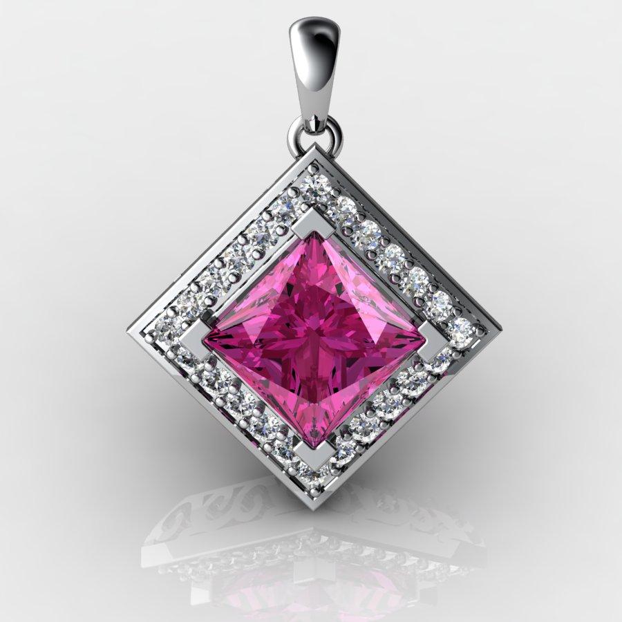 Cubic Vintage Pendant - Pink Tourmaline _image1)