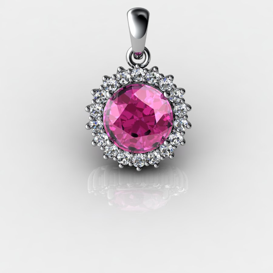 Round Cluster Pendant - Pink Tourmaline_image1)