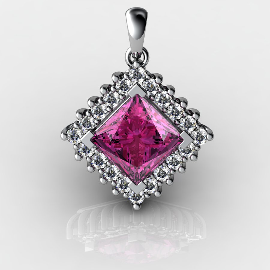 Cubic Cluster Pendant - Pink Tourmaline_image1)