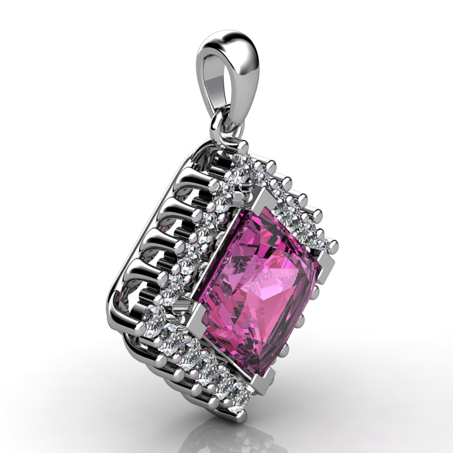 Cubic Cluster Pendant - Pink Tourmaline_image2)